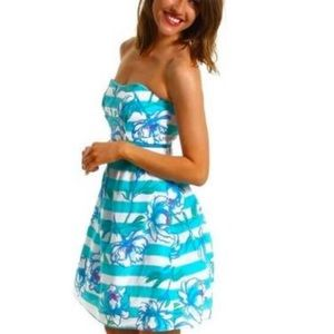 Lilly Pulitzer Langley Shore Blue Strapless Dress